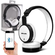 Fone de Ouvido Bluetooth Shutt Full Sem Fio Entrada P2 SD Rádio FM MP3 Preto Com Branco -