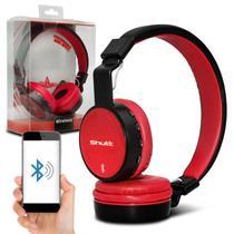 Fone de Ouvido Bluetooth Shutt Full Sem Fio Entrada P2 SD Rádio FM MP3 Preto Com Vermelho -