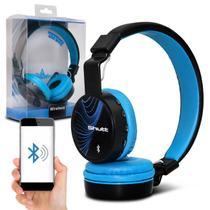 Fone de Ouvido Bluetooth Shutt Wave Sem Fio Entrada P2 SD Rádio FM MP3 Preto Com Azul Claro -