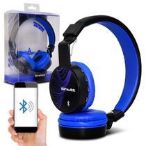 Fone de Ouvido Bluetooth Shutt Wave Sem Fio Entrada P2 SD Rádio FM MP3 Preto Com Azul Escuro -