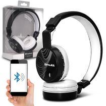 Fone de Ouvido Bluetooth Shutt Wave Sem Fio Entrada P2 SD Rádio FM MP3 Preto Com Branco -