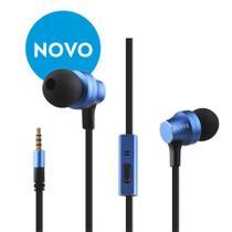 Fone de ouvido com fio intra-auricular com controle - Azul - Elsys