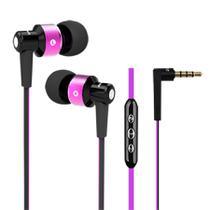 Fone de ouvido com fio intra-auricular com controle e microfone - Cor rosa - Elsys