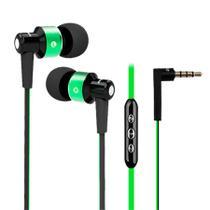 Fone de ouvido com fio intra-auricular com controle e microfone - Cor verde - Elsys