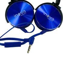 Fone de ouvido com microfone com fio para celular, notebook e tablet - Azul Metálico - Inova