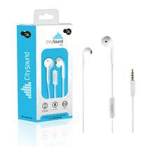 Fone de Ouvido Com Microfone DL CitySound M2, Intra-  auricular, Estéreo, Plug P2, Branco -