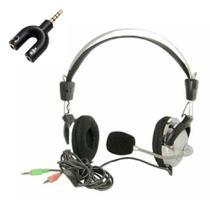 Fone de ouvido com microfone headset duplo P2  Computador e Adaptador P2 - Ws Huanle
