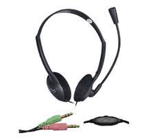 Fone de ouvido com microfone Headset volume no cabo dupla entrada P2 / P3 notebook PC  computador - Multilaser
