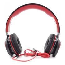 Fone de Ouvido com Microfone Super Bass Preto e Vermelho - InfoKit -