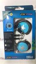 Fone De Ouvido FIX Preto Azul Para Mp4 Mp3 Mp5 PC -