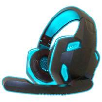 Fone de Ouvido Gamer C/ Led Azul USB P2 Microfone Celular - KOGAMER