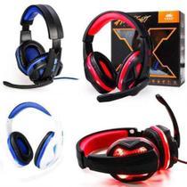 Fone de ouvido gamer com microfone e haste flexivel com luz led headset usb p2 knup -