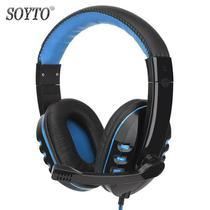 Fone de Ouvido Gamer Headset Com Fio Para Pc C/Microfone Azul - Soyto