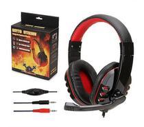 Fone de Ouvido Gamer Headset Com Fio Para Pc C/Microfone Vermelho - Soyto