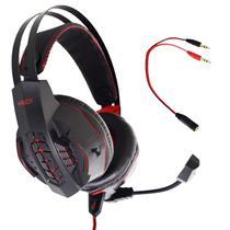 Fone de Ouvido Gamer Headset P2 Kaidi KD-763 Over Ear - VERMELHO -