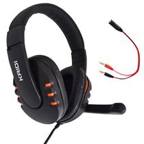 Fone de Ouvido Gamer Pc USB Headset P2 Kaidi KD-762 Over Ear - LARANJA -