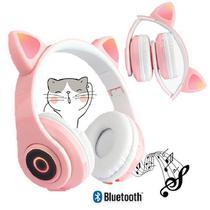 Fone De Ouvido Gatinho Bluetooth 5.0 Dobravel Rosa - CONCISE FASHION STYLE