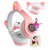 Fone De Ouvido Gatinho Bluetooth 5.0 Rosa Dobravel - Concise Fashion Style