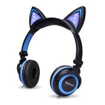 Fone De Ouvido Gatinho Com Led Headphone Orelha De Gato Preto e Azul - Exbom