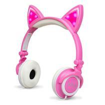 Fone De Ouvido Gatinho Com Led Headphone Orelha De Gato Rosa - Exbom