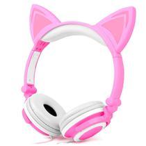Fone de ouvido Gatinho Exbom HF-C22 Rosa e Branco -
