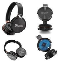 Fone de ouvido grandes earphones wireless sem fio bluetooth com rádio e cartão hrebos hs95 preto -