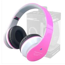 Fone De Ouvido Headphone Bluetooth Stereo Radio Fm Usb B01 Rosa - Bk imports