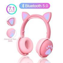 Fone De Ouvido Headphone Gato Gatinho Luzes Led Microfone - Bk1 -
