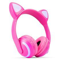 Fone De Ouvido Headphone Orelha De Gato Bluetooth P2 Led - Exbom