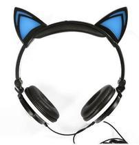 Fone de Ouvido Headphone Orelhas de Gato Led Preto/Azul - Xtrad
