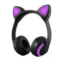 Fone de Ouvido Headphone Orelhas de Gato Led Preto/Rosa - Xtrad