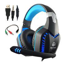Fone de ouvido Headset Gamer Azul Preto LEd Microfone Compativel com Ps4/x-one PC - Inland Sounds