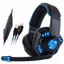 Fone de Ouvido Headset Gamer Dragon Led Azul - Feasso