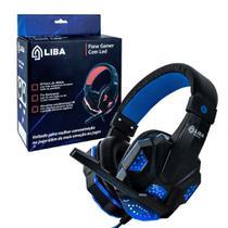 Fone de ouvido headset gamer p2 led usb pc/ps4 azul - LIBA