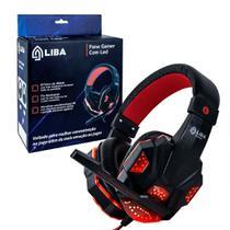 Fone de ouvido headset gamer p2 led usb pc/ps4 vermelho - LIBA