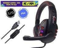 Fone De Ouvido Headset Gamer Usb com Luz Led para PC, PS4, Notebook - Verde - EJ-MD04 - Feir / verde