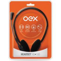 Fone De Ouvido Headset PC Com Microfone Preto Hs100 Oex -