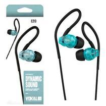 Fone de Ouvido IN EAR Vokal E20 Azul com Plug Stereo Controle de Volume e Compatível com Smartphones -