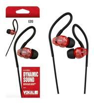 Fone de Ouvido IN EAR Vokal E20 Vermelho com Plug Stereo Controle de Volume e Compatível com Smartphones -