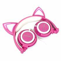 Fone de ouvido infantil com LED - Rosa com Branco - Exbom