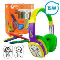 Fone de Ouvido Infantil OEX KIDS Cartoon HP302 85DB Verde e Roxo -