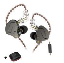Fone de Ouvido KZ ZSN Pro com Microfone (Cinza)(acompanha Case) -