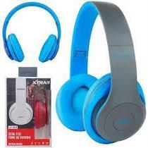 Fone de Ouvido LC-815 Wireless Sem Fio Extra Bass Dobrável Bluetooth v5.0 cor: Azul - Xtrad