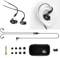 Fone de Ouvido Mee Audio MX1 Pro Black In Ear com Cabo Destacável, Bag e Diversos Plugs -