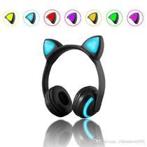 Fone de ouvido orelha de gato wireless bluetooth 7 cores led - Lehmox