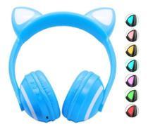 Fone De Ouvido Orelhas Gato Led 7 Cores Luz Headphone Azul - Zw19