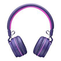 Fone de Ouvido Sem Fio Bluetooth Pulse PH217 Roxo Rosa Headphone com Microfone Leve Antônimo Potente -