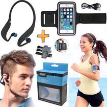 Fone de Ouvido Sem Fio Bluetooth Sport Mp3 Radio Fm Entrada Para Cartão Sd + Braçadeira Suporte Braço Corrida Caminhada - Leffa Shop