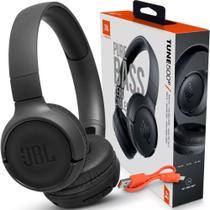 Fone De Ouvido Sem Fio Jbl Tune 500Bt Bluetooth Preto e Original Com Microfone Headphone + Nota -