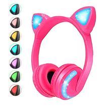 Fone de Ouvido Sem Fio Orelhas de Gato com 7 Cores de LED Headset de Gatinho Bluetooth - Exbom